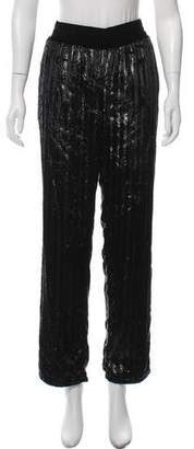 Ash RtA Denim R18 Metallic Velvet High-Rise Straight-Leg Pant w/ Tags