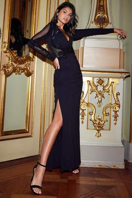 Next Lipsy x Abbey Clancy Tall Long Sleeve Sequin Plunge Maxi Dress - 6