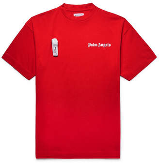 Palm Angels Embellished Logo-Print Cotton-Jersey T-Shirt