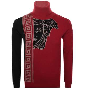 Versace Roll Neck Knit Jumper Red