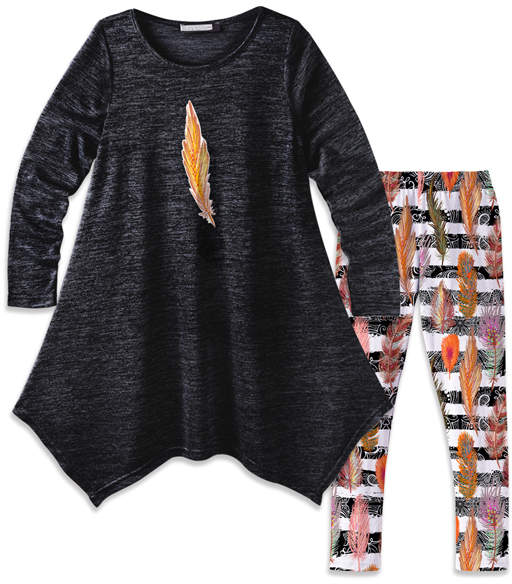 Black Feather Handkerchief Dress & Stripe Leggings - Girls