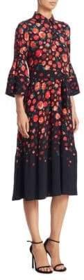 Lela Rose Floral-Print Bell-Sleeve Dress