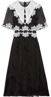 Dolce & Gabbana - Lace-trimmed Pleated Silk-blend Organza Dress - Black $5,395 thestylecure.com