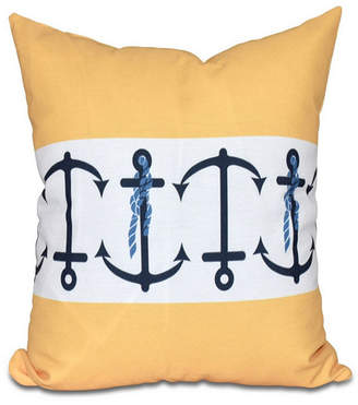 E By Design Anchor Stripe 16 Inch Yellow Decorative Nautical Throw Pillow