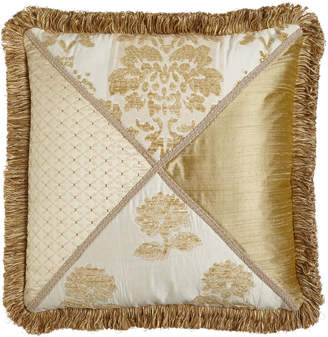 """Horchow Austin Horn Classics Antoinette Pieced Pillow with Loop Fringe, 20""""Sq."""