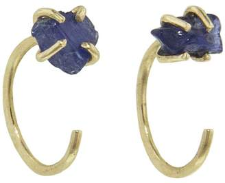 Melissa Joy Manning Blue Burmese Corundum Hug Hoop Earrings