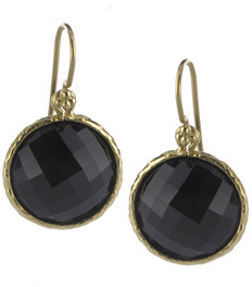 Jolie B Ray Round Briolette Drop Earrings in Black Onyx