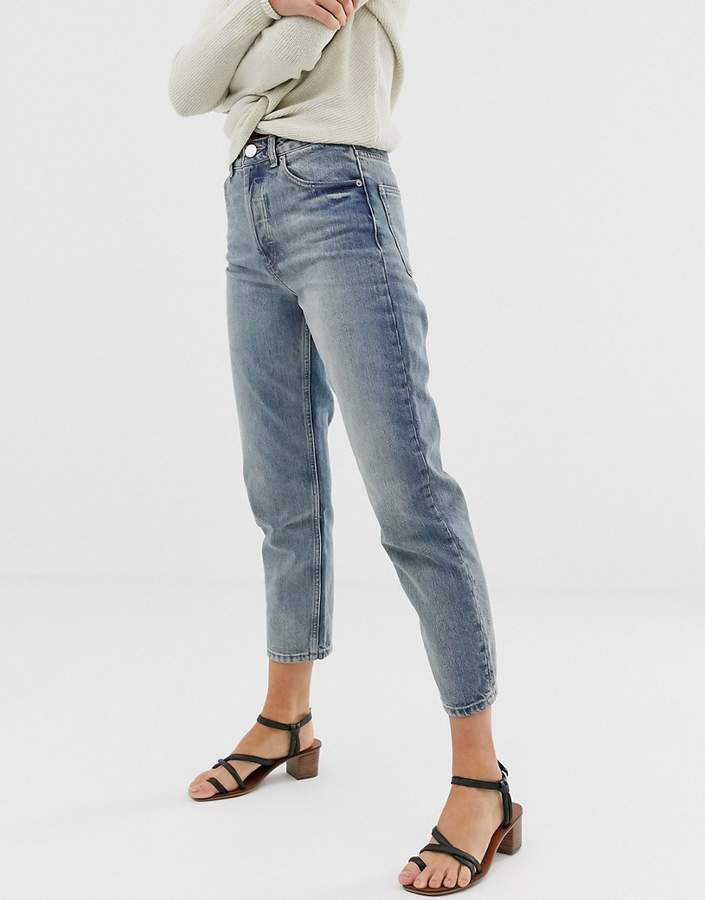 ASOS DESIGN Recycled Florence authentic straight leg jeans in dark stonewash blue