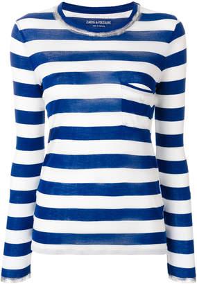 Zadig & Voltaire striped pocket jumper