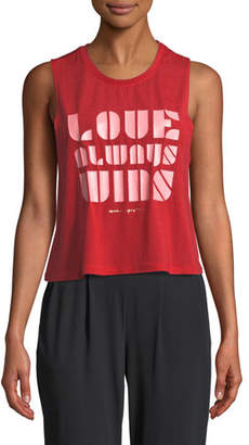 Spiritual Gangster Love Always Wins Cropped Graphic Active Tank