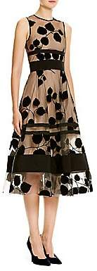 Carolina Herrera Women's Leaf-Embroidered Flocked Velvet Dress