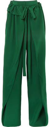Stella McCartney Ruffled Silk-crepe Wide-leg Pants - Green