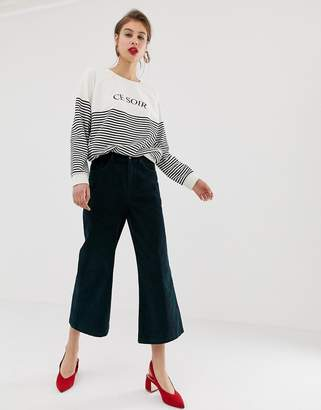 Warehouse wide leg cropped pants in green cord
