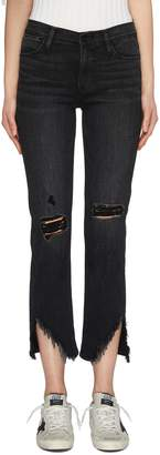 Frame 'Le High Straight' ripped staggered raw cuff jeans