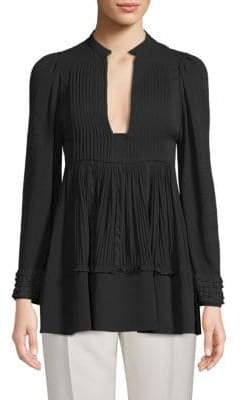 Valentino Long-Sleeve Pleated Top