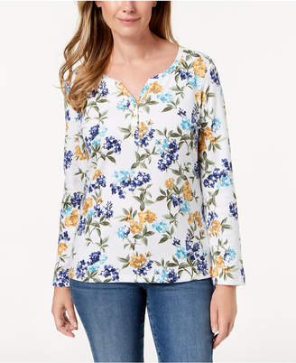 Karen Scott Floral-Print Henley Top, Created for Macy's