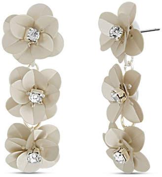 Catherine Malandrino Flower Rhinestone Drop Earring in Silver-Tone Alloy