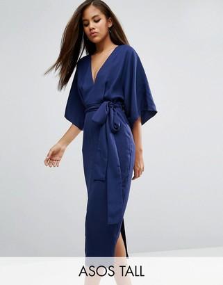 ASOS Tall ASOS TALL Kimono Plunge Midi Dress $68 thestylecure.com