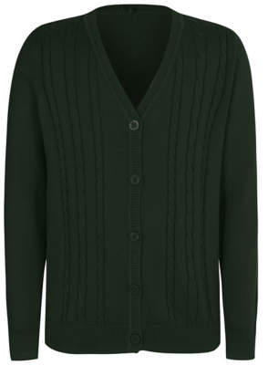 George Girls Bottle Green V-Neck Cable School Cardigan