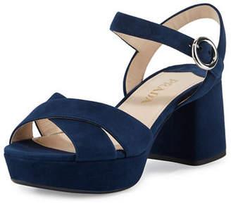 Prada Suede Crisscross Ankle-Wrap 65mm Sandal