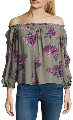 Arizona 3/4 Sleeve Off Shoulder Sleeve Floral Peasant Top-Juniors