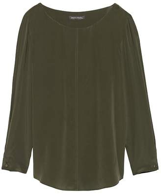 Banana Republic Petite Washable Silk Boat-Neck Top