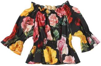 Dolce & Gabbana Roses Printed Cotton Poplin Crop Top