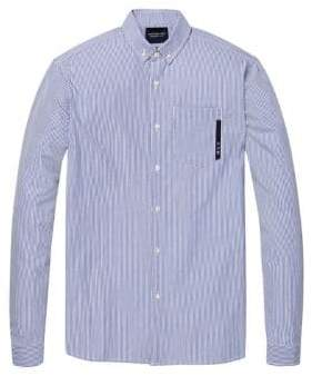 Scotch & Soda Long-Sleeve Striped Cotton Sport Shirt