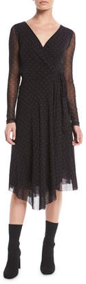 Fuzzi Dot-Print Tulle Long-Sleeve Wrap Dress
