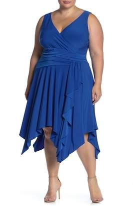 Taylor Sleeveless Handkerchief Hem Midi Dress (Plus Size)