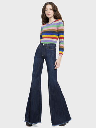 Alice + Olivia BEAUTIFUL HIGH RISE RUFFLE JEAN