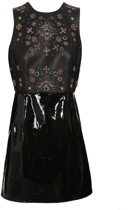 CHRISTOPHER KANE Leather dress with patent skirt