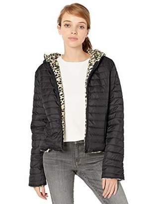 Pink Platinum Women's Faux Packable W/Leopard Fur Lining