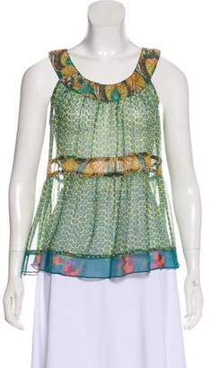 Anna Sui Semi-Sheer Sleeveless Top