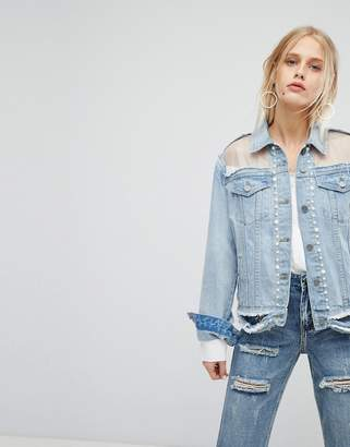 Current Air Distressed Girlfriend Fit Denim Jacket With Mesh And Pearl Detail