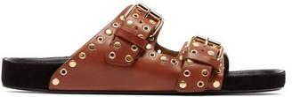 Isabel Marant Lennyo Double Strap Eyelet Leather Slides - Womens - Tan