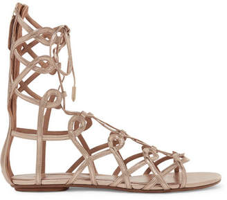 Aquazzura Mumbai Lace-up Metallic Leather Sandals - Gold