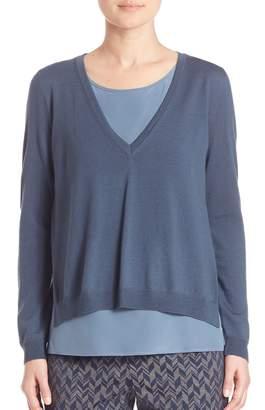 Peserico Layered Merino Wool & Silk Sweater