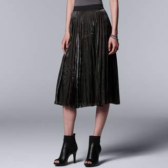Vera Wang Women's Simply Vera Pleated Shine Midi Skirt
