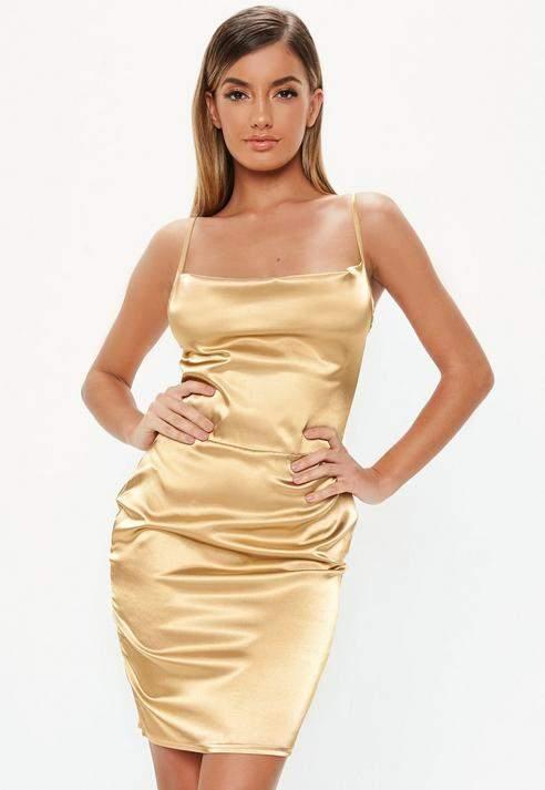 Tall Gold Satin Cowl Neck Mini Dress, Gold