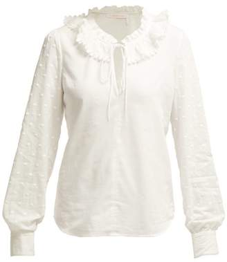 2d57bf350c067 See by Chloe Ruffled Collar Cotton Blouse - Womens - White