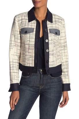 Derek Lam 10 Crosby Jacquard Knit Denim Accent Jacket