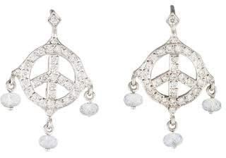 Loree Rodkin 18K Diamond & Sapphire Peace Sign Drop Earrings