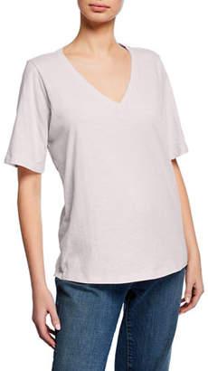 89487538fb7 Eileen Fisher Plus Size Short-Sleeve V-Neck Organic Cotton Slub Jersey Tee