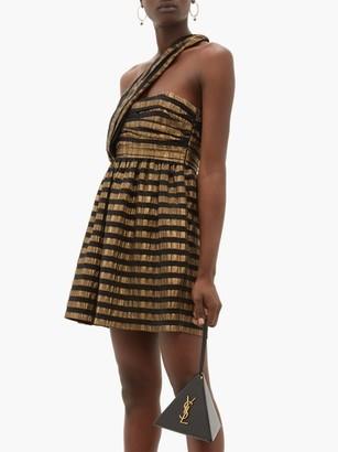 Saint Laurent One Shoulder Striped Lame Silk Blend Dress - Womens - Black Gold