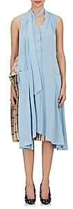 Balenciaga WOMEN'S EXAGGERATED-HEM CRÊPE DE CHINE BLOUSE-LT. BLUE SIZE 38 FR