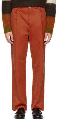 Acne Studios Red Straight Pleated Trousers