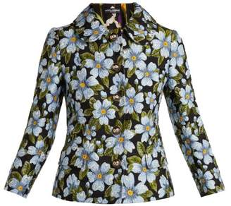 Dolce & Gabbana Floral Jacquard Jacket - Womens - Blue Multi