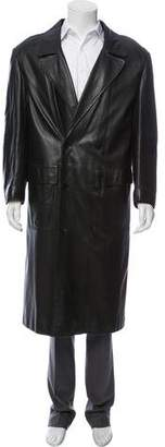 Sulka Leather Mink-Lined Coat