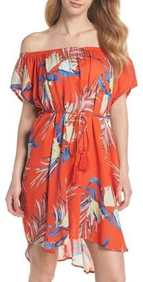 Echo Paradise Palm Off the Shoulder Cover-Up Dress